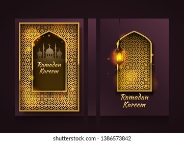 Modern vertical banners, Ramadan Kareem cover, ramadan mubarak flyer background, template design element, Vector illustration
