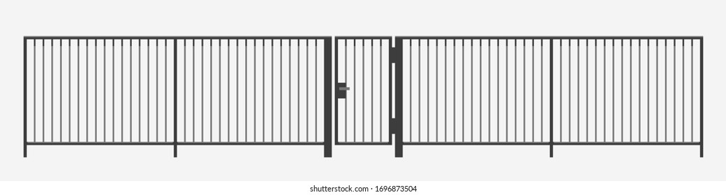 modern vertical bar metal fence