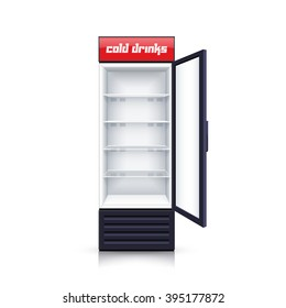 Modern vertical refrigerator with open transparent front panel for cooling drinks realistic background isolated vector Illustration