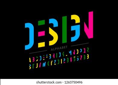 Modern vibrant font design, alphabet letters and numbers vector illustration