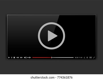 Modern video frame. Video player interface mokup or UI for web. Vector illustration