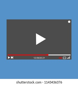 Modern video player design template for web and mobile apps flat style. Vector illustration