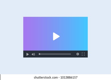Modern video player interface template for web and mobile apps. Vector illustration on light background.