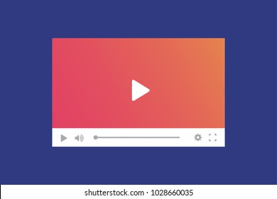 Modern video player interface template for web and mobile apps. Vector illustration on blue background.