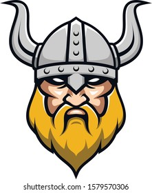 Modern Viking Head Face for Esports Logo design. Viking icon.