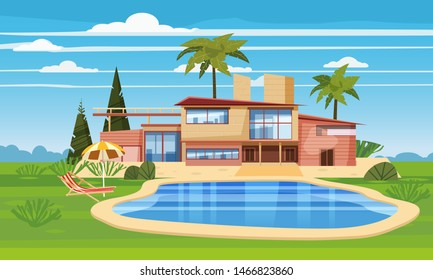 Modern villa on residence in exotic country, expensive mansion in lahdscape tropics palm trees. Luxury cottage house exterior blue swimming pool chaise lounge beach umbrella. Cartoon vector