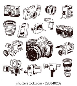 modern and Vintage camera icon set, vector illustration