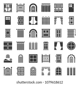 Modern and vintage Door and window icon set, solid style