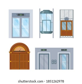 Modern and vintage house interior with lift mechanisms. Wooden of metal lifts elevator cabin with closed doors. Lift with office, home, hotel isolated cartoon vector