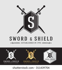 Modern Vintage Sward and Shield Logo Crest Design. Vector Illustration Logotype Template. Suitable for Protection concept, Strong Concept, Safe concept