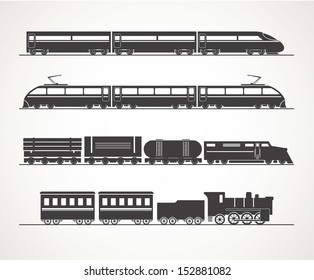 Modern and vintage train silhouette collection