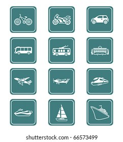 Modern and vintage vehicles teal contour icon-set