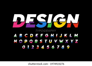 Modern vivid colorful font, bright color typography design, alphabet letters and numbers, vector illustration - Shutterstock ID 1974923276