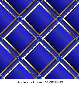 Modern waffle 3d dark blue vector seamless pattern. Geometric ornamental jewelry background. 3d rhombus and diamonds with gold frames. Gradient texture. Repeat gemstones backdrop. Blue 3d sapphires