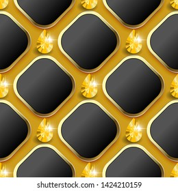 Modern waffle 3d vector seamless pattern. Geometric ornamental jewelry background. 3d rhombus and yellow shiny diamonds with gold frames. Gradient texture. Repeat gemstones backdrop. Endless texture