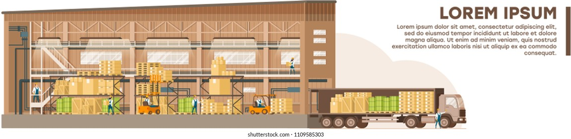 Modern Warehouse Flat Vector Banner with Sample Text. Workers Folding Boxes on Storage Racks, Loading Packed Goods in Cargo Truck from Big Warehouse Hangar. Commercial Freight and Parcels Delivering