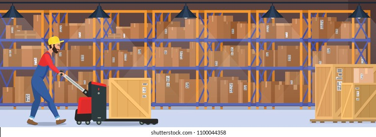 Modern warehouse vector interior with goods, pallet trucks and industrial worker who carrying dalivery box.