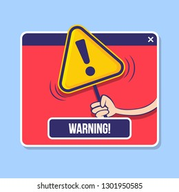 Modern warning pop up with cartoon design on red background.