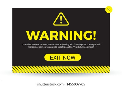 Modern warning pop up in flat design. Design for website, notification, service. Eps 10 vector illustration