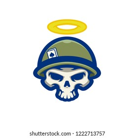 Modern warrior skull in helmet with halo and playing cards