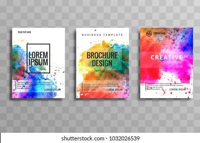 Modern watercolor business brochure set of cards vector design