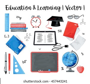 Modern watercolor design vector illustration, concept of education and learning