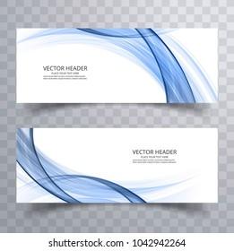 Modern wave banner template set design