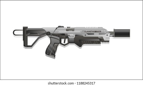 Modern weapons on a white background. Futuristic military weapon.