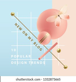 Modern web banner in square format with pink and golden 3d geometric shapes isolated on a blue background