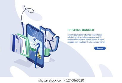 Modern web banner template with cracked smartphone, credit cards on fishing hook, broken protective shield and place for text. Phishing, internet fraud, online security. Isometric vector illustration.