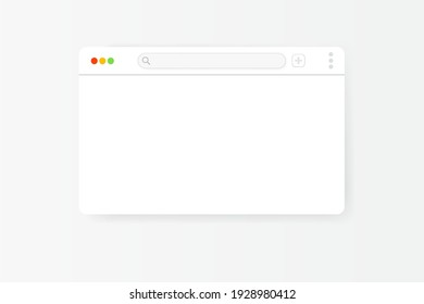 Modern web browser window design isolated on white background. Web window screen mockup with shadow. Internet empty web landing page concept with search bar and buttons. Vector illustration