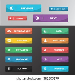 Modern web buttons flat design with square style and line sparate