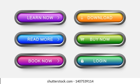 Modern web buttons of purple, sky blue, pink, yellow, green color. Metal framed rectangular steelane buttons with drop shadow for web design, apps and games.