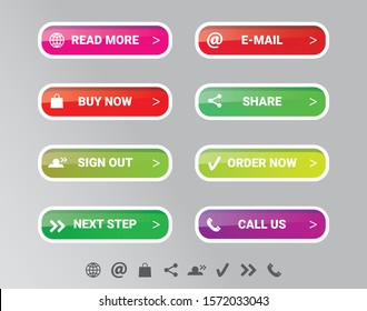 Modern web buttons - User Interface and User Experience vector set. The most popular buttons in one useful collection. Vector shiny glossy effect with separate icons.