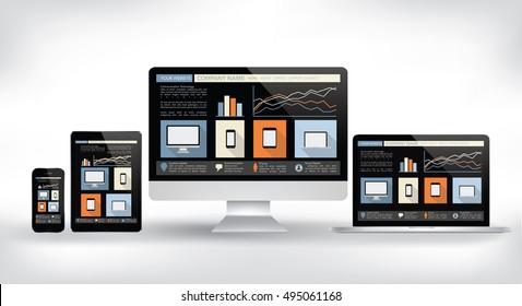 modern web design concept - electronic devices  vector