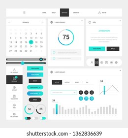 Modern web design elements frame template on white background. Web elements with navigation, buttons, icons for use on the site. Daily ui. Web interface template
