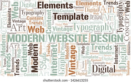 Modern Website Design word cloud. Wordcloud made with text only.