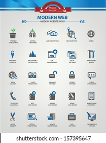 Modern Website & marketing icons,Blue version,vector