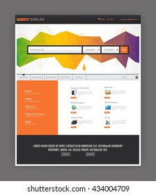 Modern website template with abstract polygon header.