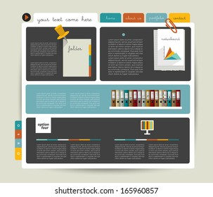 Modern  website template. Colorful minimalistic option banner. Vector illustration. Box diagram. Blog, noticeboard background.