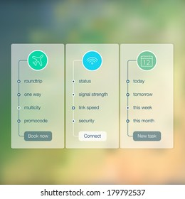 Modern website ui template design. Transparent app user interface wizard buttons on minimalistic blurred backdrop. Vector editable webdesign elements on blurred background with icons.