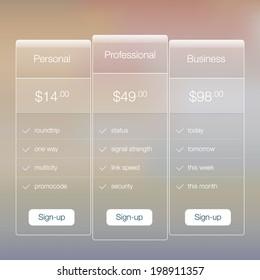Modern website ui template design. Transparent app user interface price list widget buttons on minimalistic backdrop. Vector editable webdesign elements on retro background.