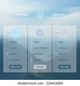 Modern website ui template design. Transparent app user interface wizard buttons on minimalistic backdrop. Vector editable webdesign elements on blurred background. Landscape background.
