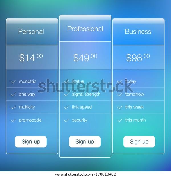 Modern Website Ui Template Design Transparent Stock Vector (Royalty
