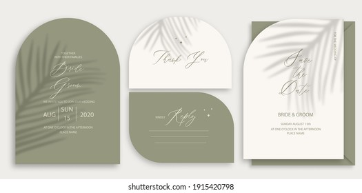 Modern wedding invitation, burnt green wedding invitation template, arch shape with palm leaf shadow and handmade calligraphy.