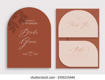 Modern wedding invitation, burnt orange wedding invitation template, arch shape with leaf shadow and handmade calligraphy.