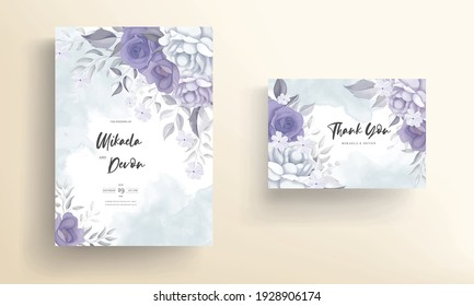 Modern wedding invitation card with beautiful purple flowers