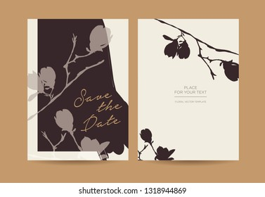 Modern wedding invitation in minimalist style. Silhouette of branches and flowers of magnolia on a dark background.  Сan be used for the shop, beauty salon, spa or restaurant. Vector template.