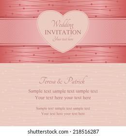 Modern wedding invitation, ornate heart frame, pink style