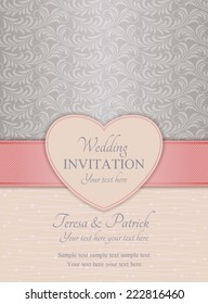 Modern wedding invitation, ornate heart frame, pink and silver on beige